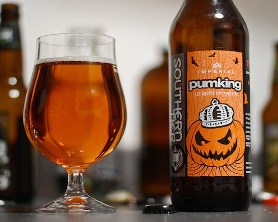 pumpking imperial ale with glass